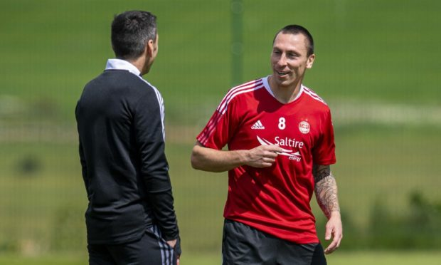Aberdeen manager Stephen Glass with Player/Coach Scott Brown during the first day of pre-season.