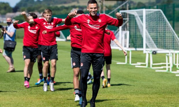 New signing Christian Ramirez during an Aberdeen training session at Cormack Park.