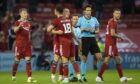 Dons players celebrate at full time during a Europa Conference Qualifier between Aberdeen and BK Hacken at Pittodrie.