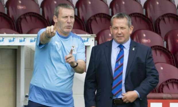 Barry Wilson, left, with ICT head coach Billy Dodds.