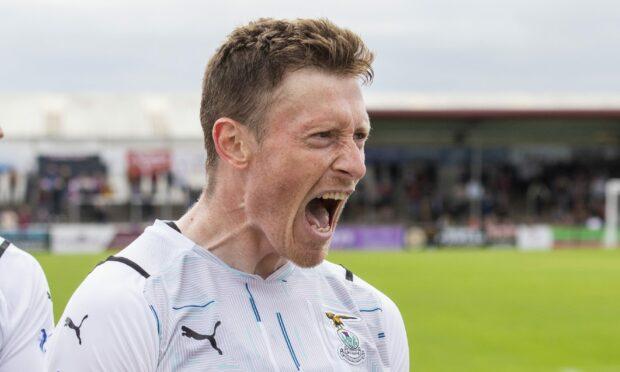 Shane Sutherland celebrates after scoring at Arbroath.