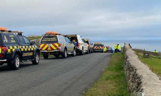 Coastguard crews at the scene near Lerwick. Photo: Coastguard