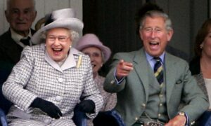 Britain's Queen Elizabeth II and her son, the Prince of Wales attend the Braemar Highland Games at the Princess Royal and Duke of Fife Memorial Park, Aberdeenshire.