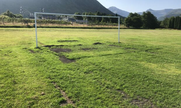 Pictures of Fort William's Claggan Park pitch which is not in a playable state Pictures courtesy of Highland League