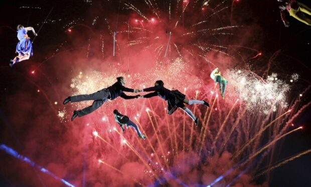 Artists perform during a pyrotechnics show in Bogota, Colombia