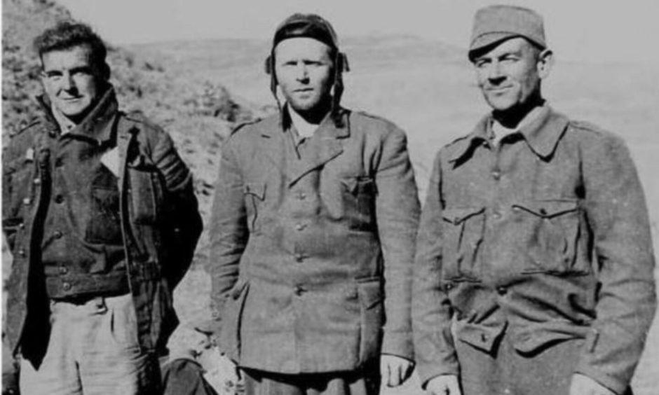 Archie Dewar, Bob Cooney and Tom Davidson during the Spanish Civil War.