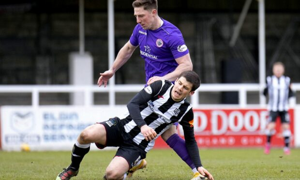 Rory MacEwan, front, hopes Elgin City can trouble Dundee United after going close against Arbroath in the Premier Sports Cup.