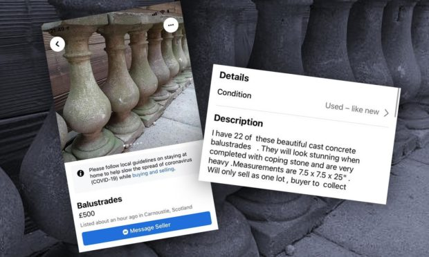 Balustrades for sale on Facebook Marketplace have led to ire from Aberdonians, concerned the pieces could be linked to Union Terrace Gardens.