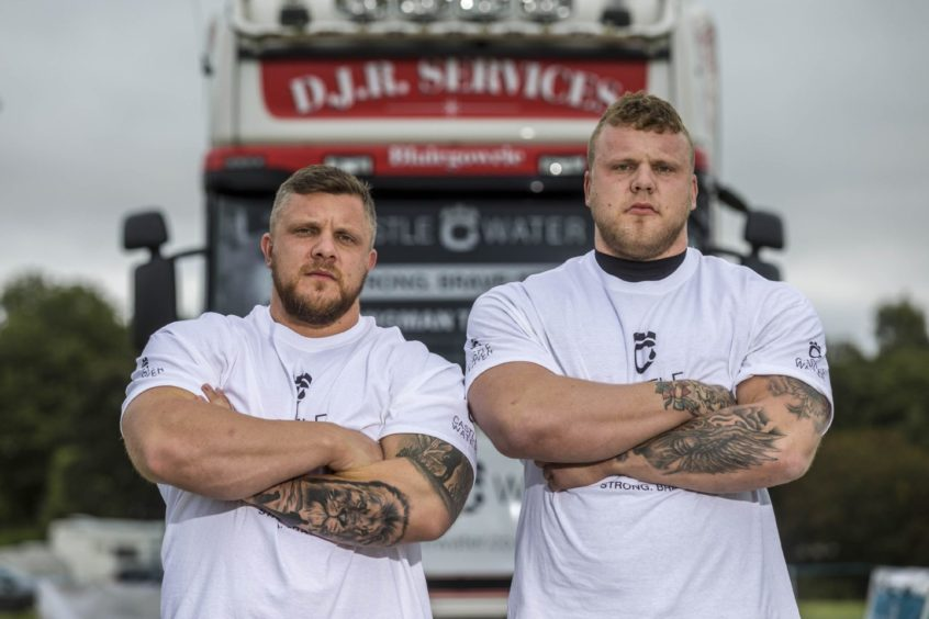 Blairgowrie Highland Games, Scotland - Worlds Strongest Men the Stolman Brothers in 2019.