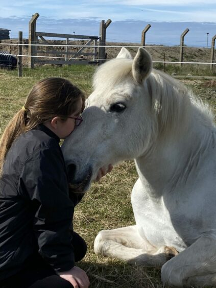 Cerys, aged 10, enjoying the sunshine with her horse Hallie at Lossiemouth. Thanks to Debbie Banfield for sending in the pics.