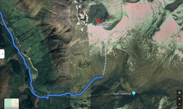 Dangerous Google Maps route on Ben Nevis.