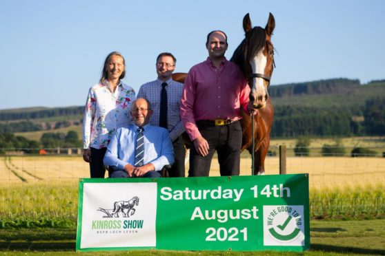 From left, Kinrossshire Agricultural Society's Dora Smith, Harold Greer, Andrew Turnbull and Ewan Paterson with Jake the horse.