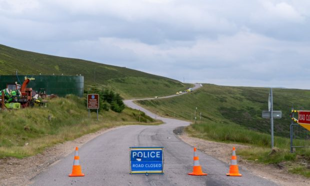 The A939 was closed for several hours.
