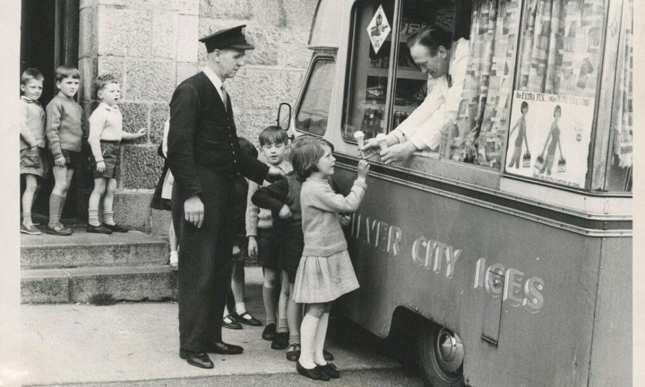 Children queue up at the ice cream van in Aberdeen in 1966.