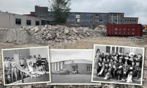 Inverurie Swimming Pool after its demolition and, inset, photos from the pool over the years.
