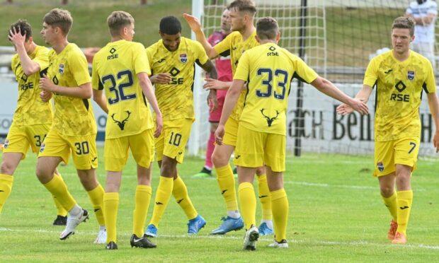 Ross County celebrate scoring in their 5-0 pre-season win at Elgin City.