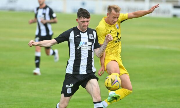 Creag Little, left, headed Elgin City in front early against Kelty Hearts.