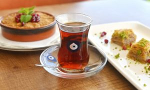Apple Crumble, Baklava and Turkish Tea.