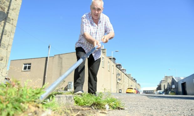 Councillor Brian Topping weeding in Fraserburgh.