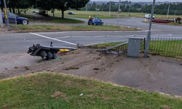 Traffic lights have been knocked down on Provost Watt Drive