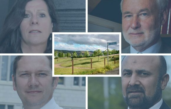 Clockwise: Depute Provost Jennifer Stewart, Scottish Government reporter Michael Shiel, Councillor Tauqeer Malik and Councillor Douglas Lumsden MSP. Centre: Concept images for planned homes at Milltimber South.