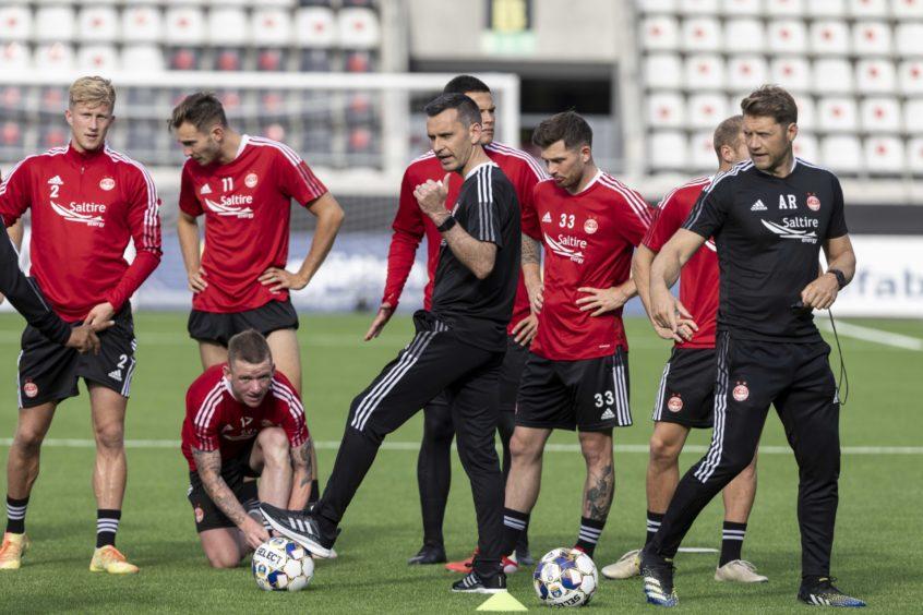 Stephen Glass leads training at the Bravida Arena in Gothenburg.