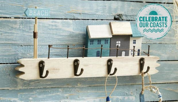 Bring the beach indoors: beach house plaque with hooks, £6.75, Live Laugh Love.