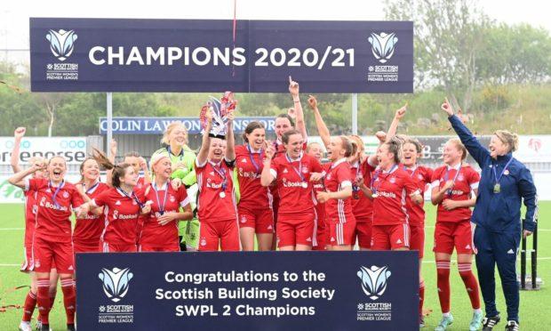 Aberdeen FC Women celebrate their SWPL 2 title success.