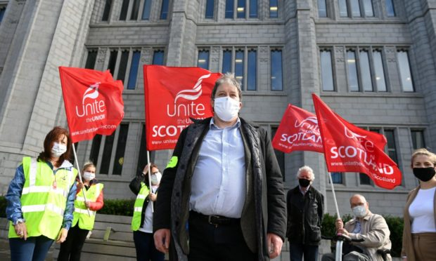 Union members picketing outside Marischal College in Broad Street, Aberdeen, last month.