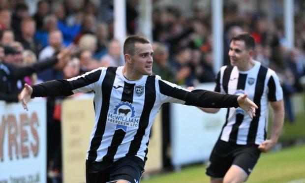 Fraserburgh's Scott Barbour celebrates his Aberdeenshire Cup final goal