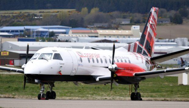 A Loganair plane at Aberdeen International Airport