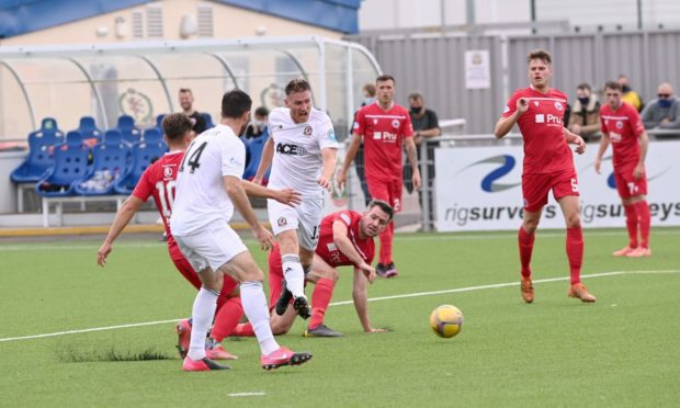 Rory McAllister in action for Cove Rangers against Stirling Albion.