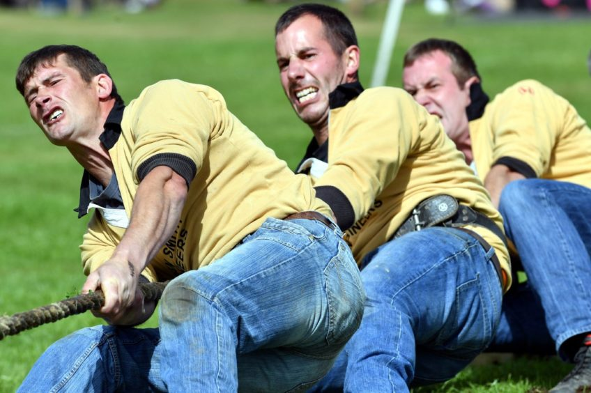 The 150th Aboyne Highland Games ;  Pictured - Cornhill Tug-O-War team competing at the games.    Picture by Kami Thomson