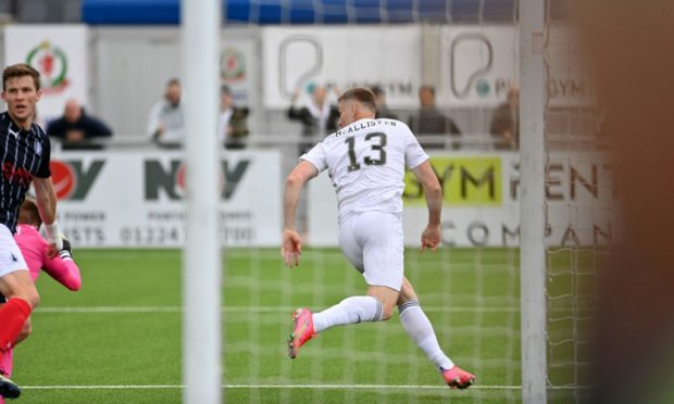 Rory McAllister wheels away after equalising for Cove Rangers.