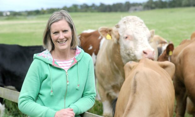 Jo with some of the cattle on the farm.