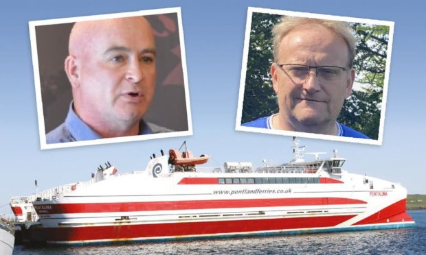The Pentalina, with Mick Lynch, RMT general secretary on the left and Joe Reade, chairman of Mull and Iona Ferry Committee on the right.