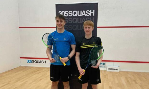 Inverness squash player Alasdair Prott (left) and Englishman Finnlay Withington, who he defeated to win the PSA Closed Satellite title on Saturday July 24, 2021.
