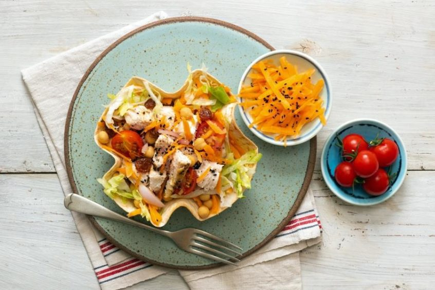 Chicken & Chickpea Tortilla Bowl – one of many recipes featured in Cooking For One and Two.