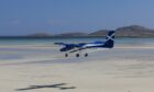 Coming in to land on the beach runway at Barra.