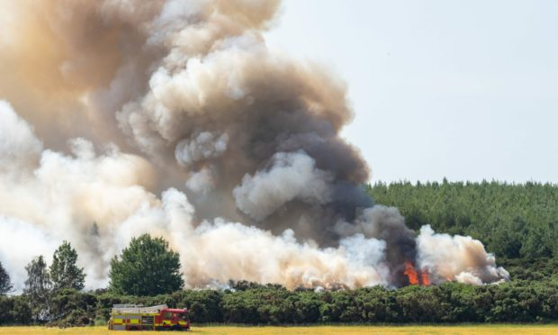 Fire crews are currently tackling a gorse wildfire in Thomshill