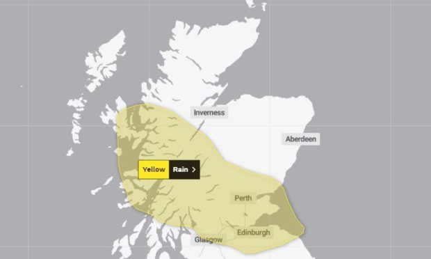 The Met Office yellow weather warning for Monday. Picture from the Met Office