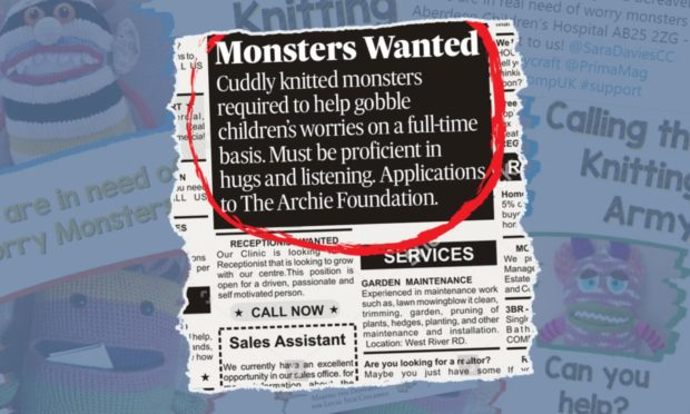 The Archie Foundation is asking volunteers to make and send in knitted worry monsters.