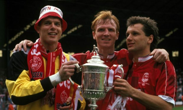 Aberdeen legends Theo Snelders, Alex McLeish and Hans Gillhaus with the Scottish Cup in 1990.