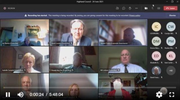 Highland councillors taking part in a Zoom meeting.