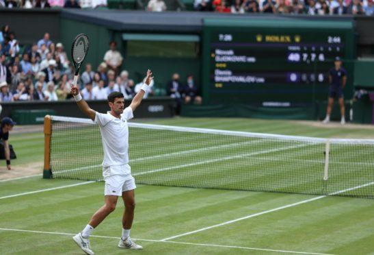 Novak Djokovic celebrates victory against Denis Shapovalov.