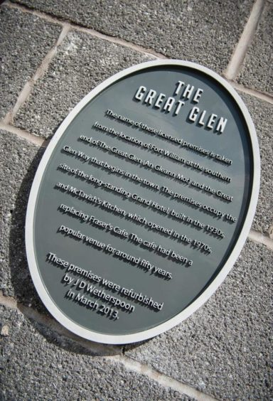 The Great Glen plaque. Picture: Wetherspoons.