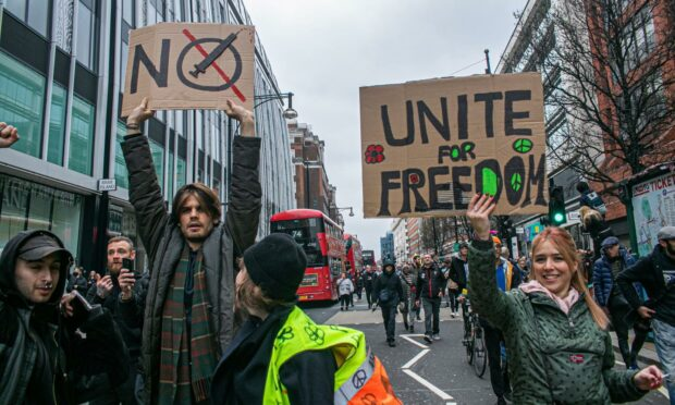 An anti-Covid vaccine protest in London earlier this year