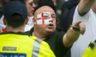 A protestor at a nationalist EDL march in 2014