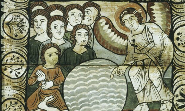 The cripple at the pool of Bethesda, Romanesque painted ceiling, c. 1150, Grisons canton, Switzerland.