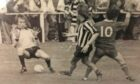 Jim Oliver scoring for Fraserburgh against Aberdeen in 1978/99 in Bertie Bowie's testimonial match. The Dons players are goalkeeper Jim Leighton and Dougie Bell.
